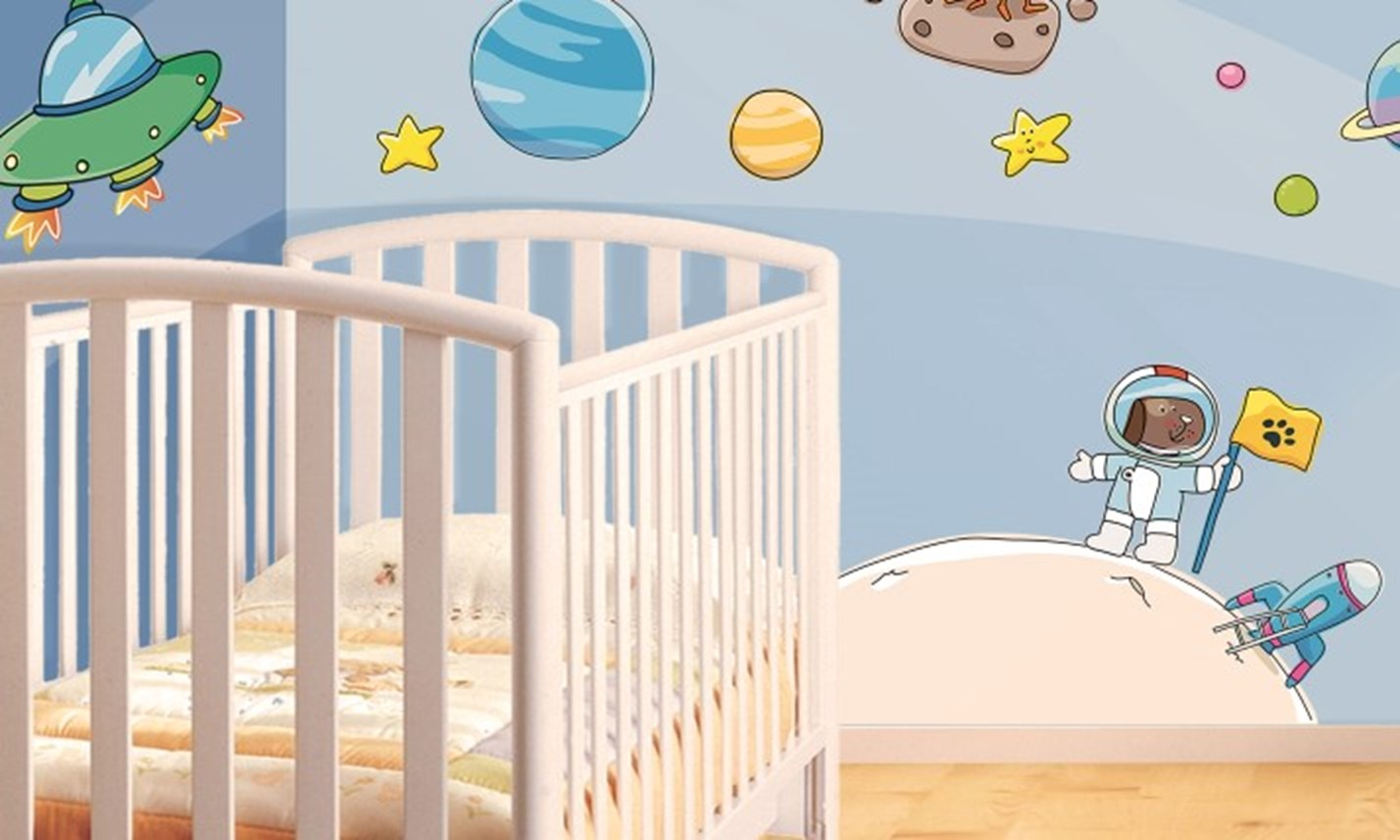 Stickers murali bambini cameretta viaggio nello spazio for Idee per camerette